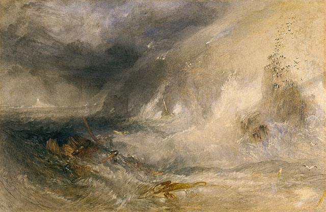 J. M. W. Turner maleri Long Ship's Lighthouse, Land's End - storm og uvejr over hav